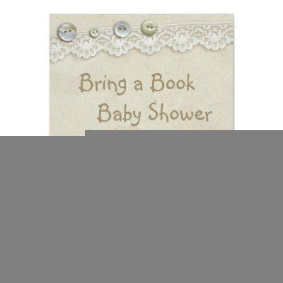 Bring a Book Teddy Vintage Lace Print Baby Shower Invitation