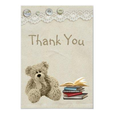 Bring a Book Teddy Vintage Lace Print Thank You Invitations