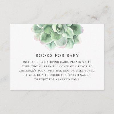 Bring book for baby request. Watercolor succulent Enclosure Card