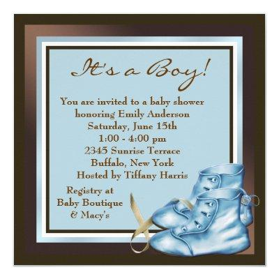 Brown and Blue Baby Boy Shower Invitations