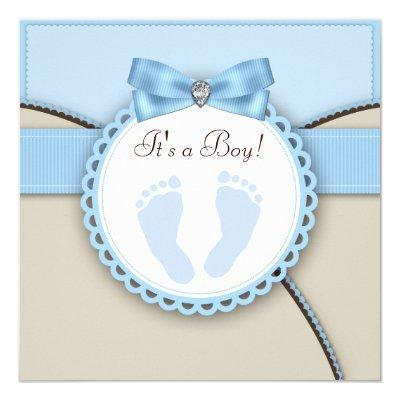 Blue footprint baby shower invitations baby shower invitations baby girl shower invitations brown and blue footprint filmwisefo