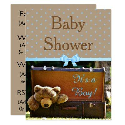 Brown and Blue Teddy Bear Baby Shower Invitations