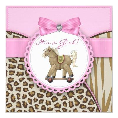 Brown and Pink Rocking Horse Baby Girl Shower Invitations