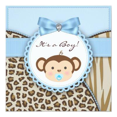 Brown Blue Monkey Baby Boy Shower Invitations