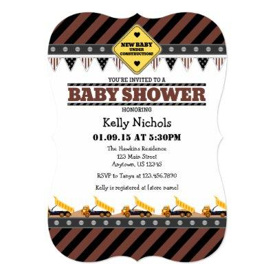 Brown Construction Baby Shower Invitation