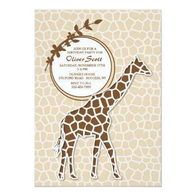 Brown Giraffe Invitation