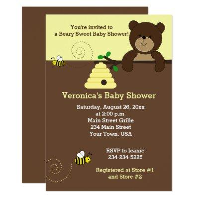 Brown Honey Bear and Bumble Bee Baby Shower Invite