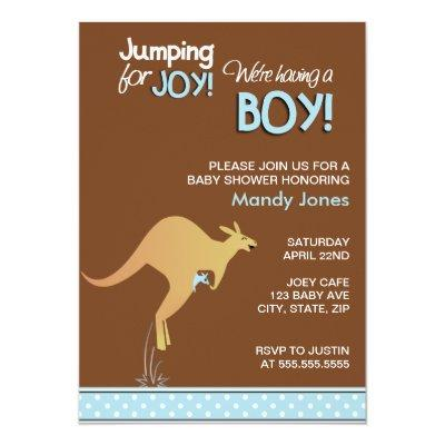 Brown Kangaroo Jumping for Joy Boy baby shower Invitations