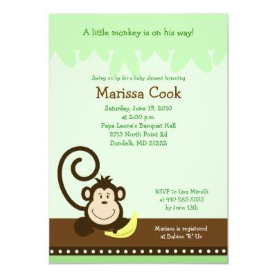 Brown Silly Monkey Jungle Boy Invitations