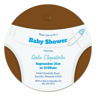Brown Skin & Diaper Blue | Baby Shower Invitation