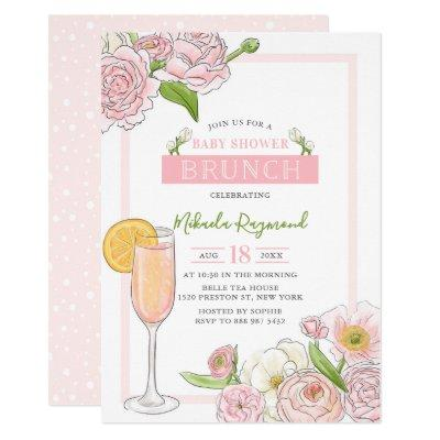 Brunch and Bubbly | Pink Floral Baby Shower Brunch Invitation