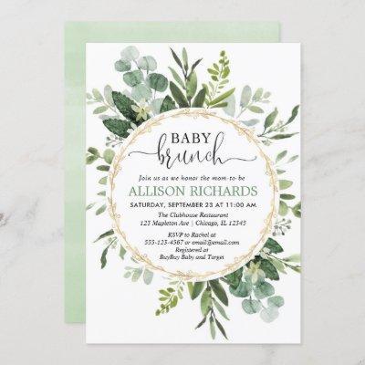 Brunch baby shower, Eucalyptus gender neutral Invitation