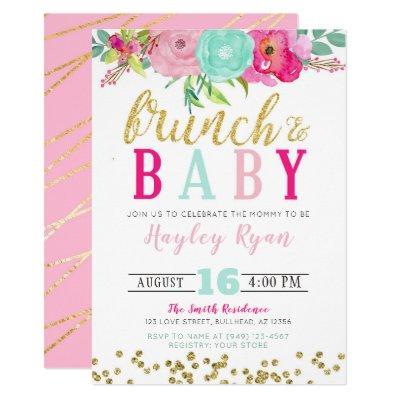 Brunch & Baby Summer Flowers Boho Gold Glitter Invitation