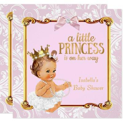 Brunette Baby Princess Baby Shower White Pink Gold Invitations