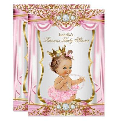 Brunette Girl Princess Baby Shower Pink Silk Gold Invitations