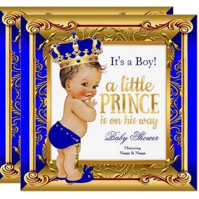Brunette Prince Baby Shower Blue Faux Gold Invitations