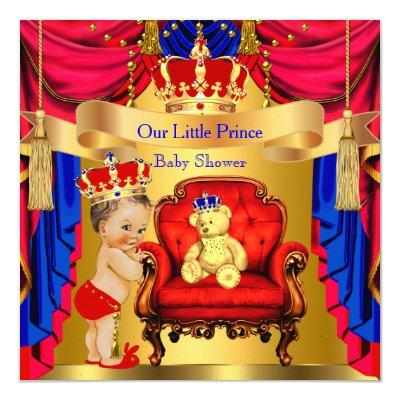 Brunette Prince Gold Bear Red Blue Invitations