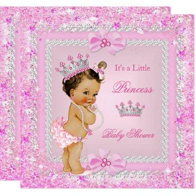 Brunette Princess Baby Shower Pink Glitter Tiara Invitations