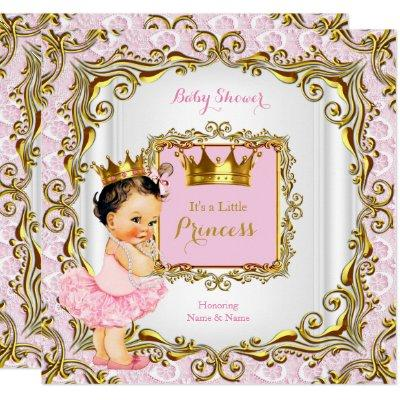 Brunette Princess Baby Shower Pink Lace White Gold Invitation
