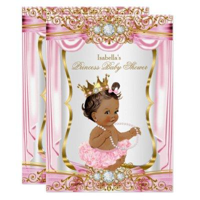 Brunette Princess Baby Shower Pink Silk Gold Invitations