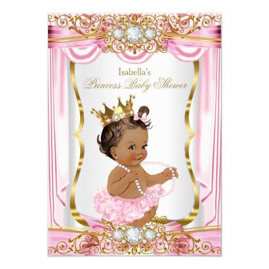 Brunette Princess Pink Silk Gold Invitations