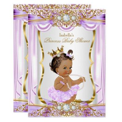 Brunette Princess Baby Shower Purple Silk Gold Invitations