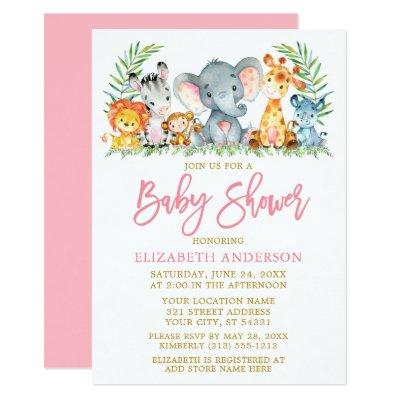 Brush Script Safari Animals Pink Gold Baby Shower Invitation