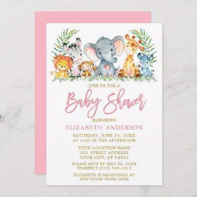 Brush Script Safari Animals Pink Gold Baby Shower Invitation