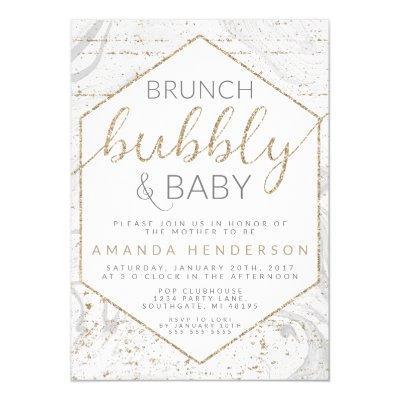 Bubbly & Baby Gray Marble Baby Shower Invitation