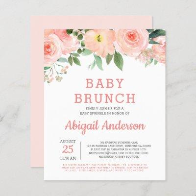 Budget Baby Brunch Watercolor Floral Invitation