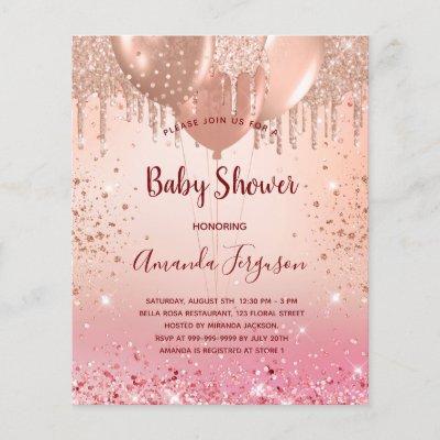 Budget Baby Shower pink rose gold glitter girl
