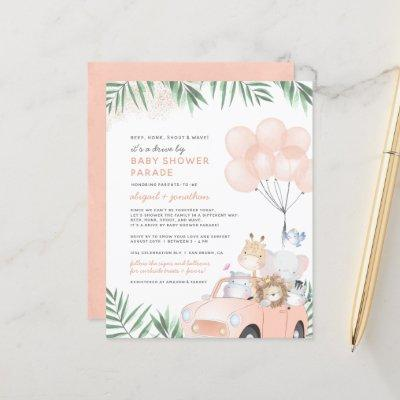 Budget Blush Pink Gold Safari Drive By Baby Shower