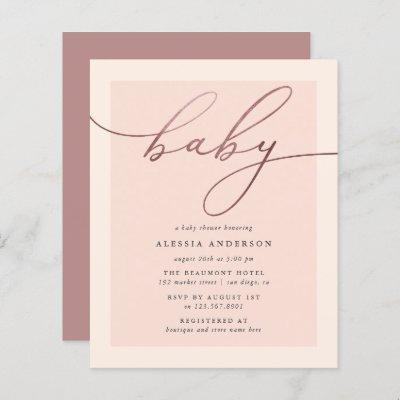 Budget Blush Rose Gold Typography Girl Baby Shower