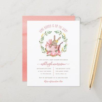 Budget Bunny & Watercolor Flowers Girl Baby Shower
