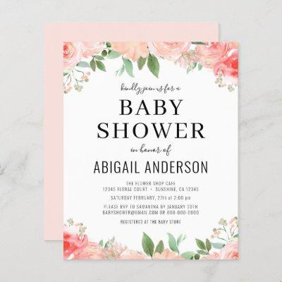 Budget Coral Floral Baby Shower Invitation