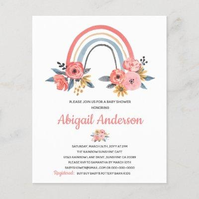 Budget Rainbow Floral Baby Shower Invitation