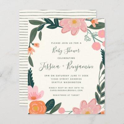 Budget Stylish Pink Garden Floral Baby Shower