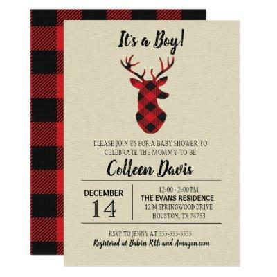 Buffalo Plaid Deer Baby Shower Invitation