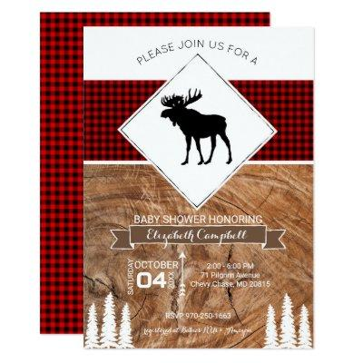 Buffalo Plaid Moose Themed Baby Shower Invitations