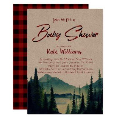 Buffalo Plaid | Mountain Baby Shower Invitation