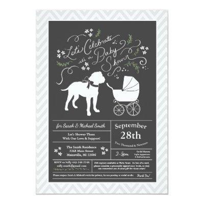 Bull Mastiff Dog Baby Shower Invitation