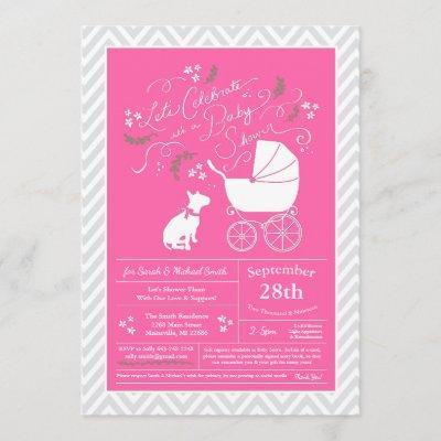Bull Terrier Dog Baby Shower Pink Girl Invitation