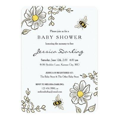 Bumble Bee Baby Shower Invitations | Yellow Floral