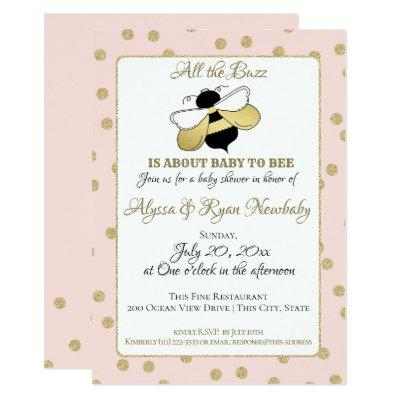 Bumble Bee Buzz Pink Baby Shower Invitation