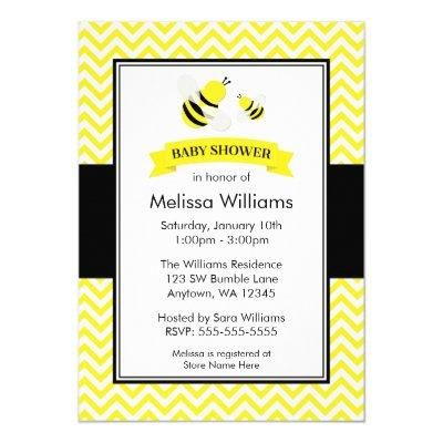 Bumble Bee Chevron Baby Shower Invitations
