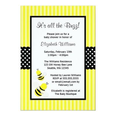Bumble Bee Striped Dots Invitations