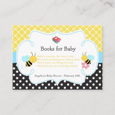 Bumble Bee Yellow and Black Baby Book Request Enclosure Invitations