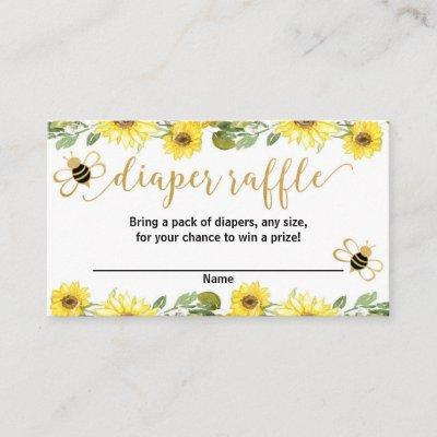bumble bee yellow baby shower diaper raffle cards
