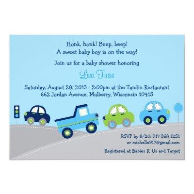 Bumper to Bumper Car Truck Invitations
