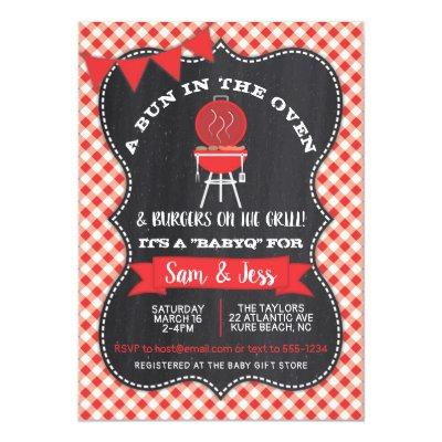 Bun in the Oven Baby Shower Invitation red & black